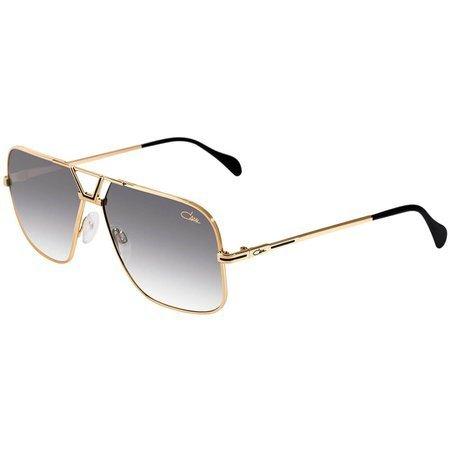 Cazal okulary przeciwsłoneczne pilotki ze złotą ramką i zdobionym mostkiem, szkła cieniowane