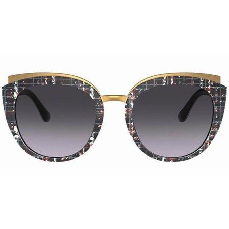 Dolce & Gabbana mozaikowe okulary przeciwsłoneczne ze złotymi brwiami i złotym mostkiem