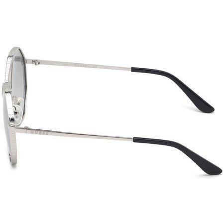 Guess okulary przeciwsłoneczne owalne z podwójnym mostkiem, oprawa srebrna z lustrem