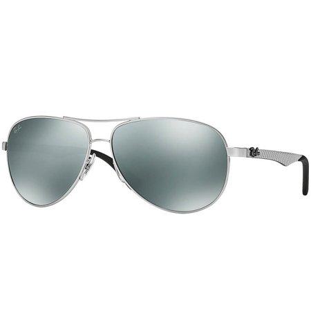 Ray-Ban okulary przeciwsłoneczne srebrne pilotki, z zausznikiem z włókna węglowego