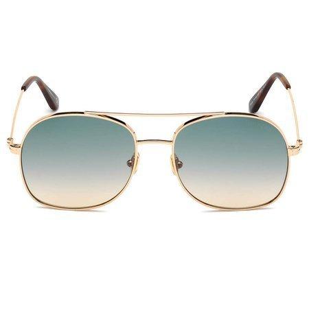 Tom Ford okulary przeciwsłoneczne złote pilotki z zielonymi cieniowanymi szkłami